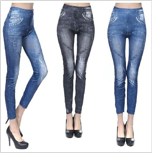 Buy Polyester Spandex Beautiful Flower And Girl Print Jeans - online