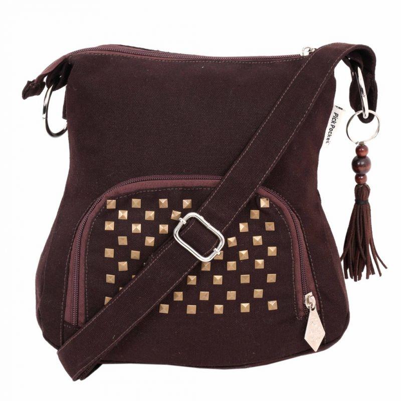 Buy Pick Pocket Brown Metallic Sling Small online