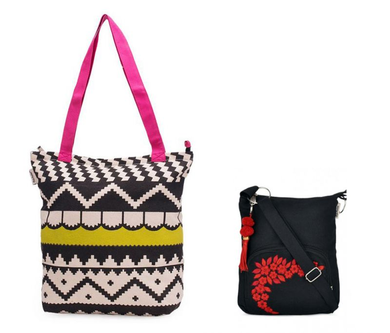Buy Combo Of Pick Pocket Accrue, Lime Green And Pink Tote With Black Small Bag online