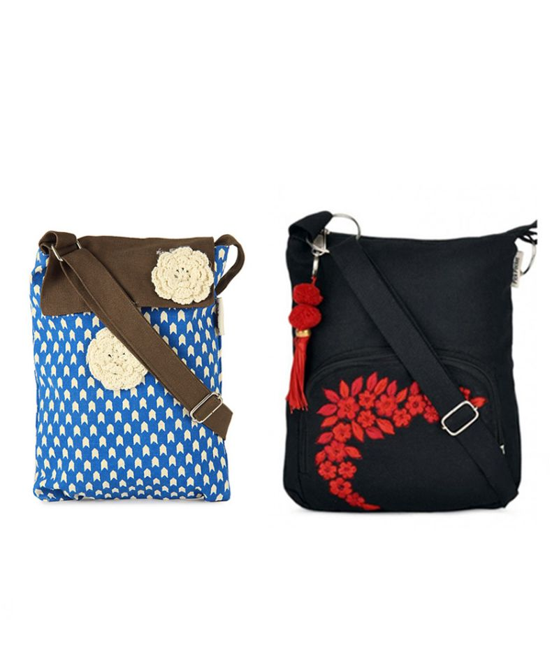 Buy Combo Of Pick Pocket Awesome Blue And Brown Flap Sling With Black Small Sling Bag online