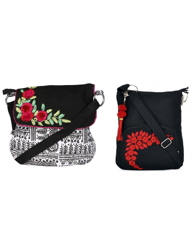 Buy Combo Of Pick Pocket Beautiful Black Sling With Flower Bunch With Black Small Sling Bag online