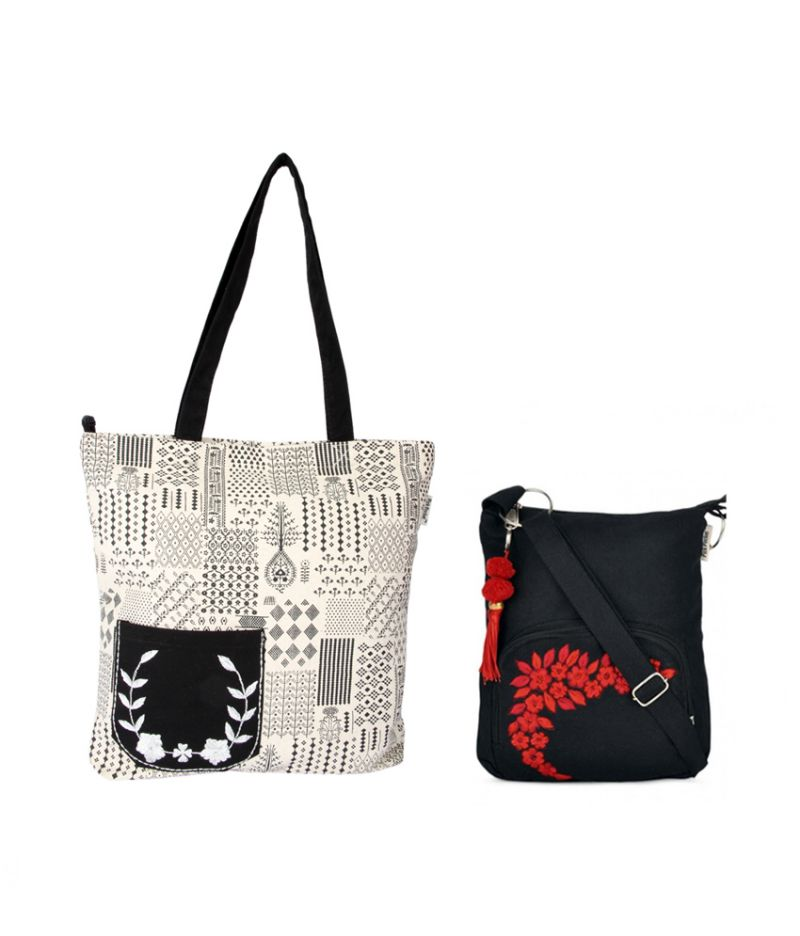 Buy Combo Of Pick Pocket Tribe Embroidered Shopper Bag With Black Small Sling Bag online