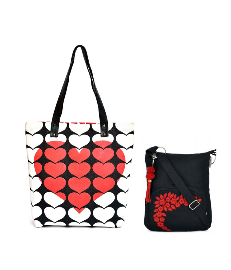 Buy Combo Of Pick Pocket 3d Red Heart Canvas Tote Bag With Black Small Sling Bag online