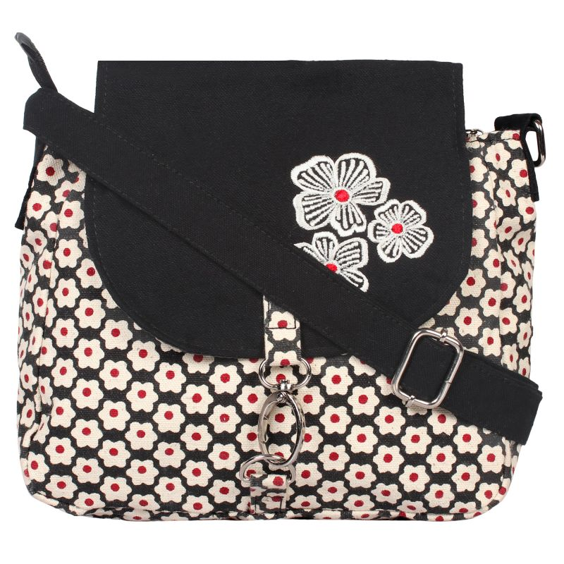 Buy Pickpocket Black Sling With White Flower Print online