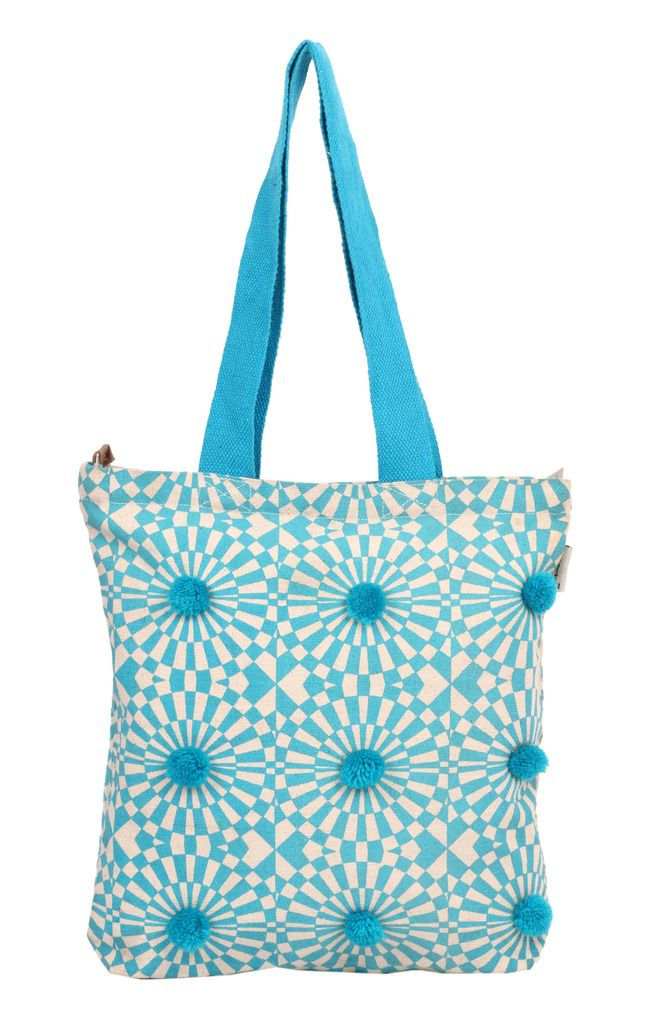 Buy Pick Pocket Blue Pom Pom Tote online