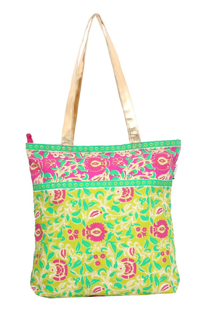 Buy Pick Pocket Lime Green Gold Handle Tote online