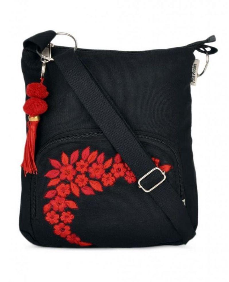 Buy Pick Pocket Canvas Black Small Sling Bag Slblkremb24 Online ...