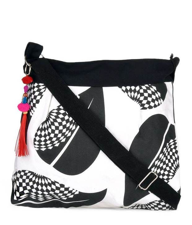 Buy Pick Pocket Canvas Black And White Sling Bag Slblkwts23 Online ...
