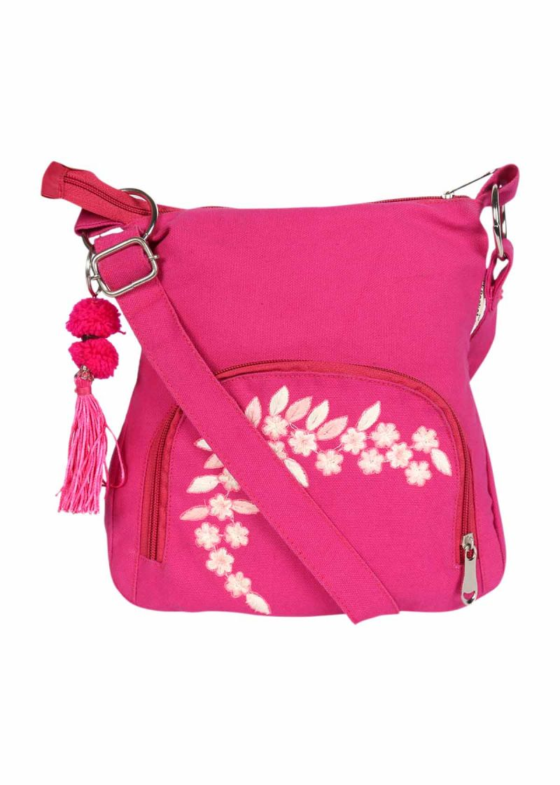Buy Pick Pocket Canvas Fuschia Small Sling Bag Online | Best ...