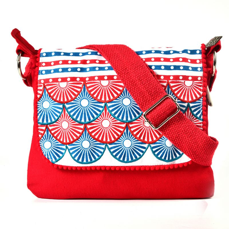 Buy Pick Pocket Circle Printed And Embroidered Flap Red Canvas ...