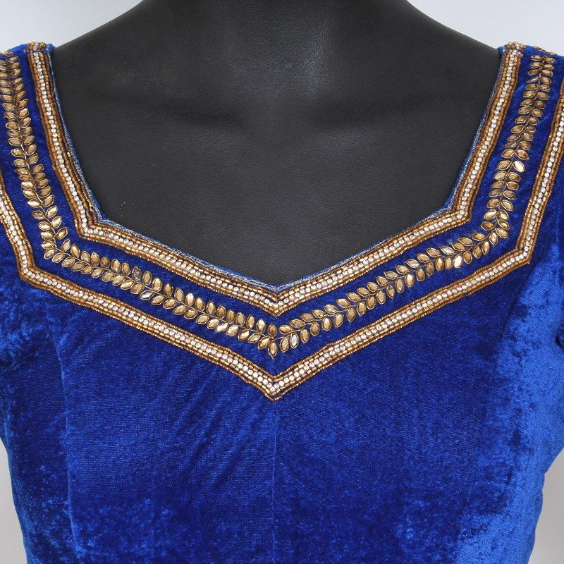 0b85b5552d0dc ... Buy The Blouse Factory a Royal Velvet Blouse With Kundan Work Online
