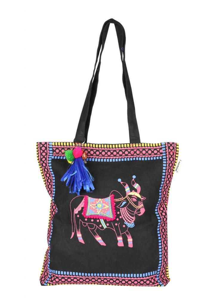 Buy Pick Pocket Canvas Tote Bag With Ox Print Look Attaractive online