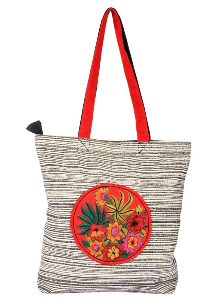 Buy Pick Pocket Canvas Tote Bag With Colourful Embrodiered Patch. online