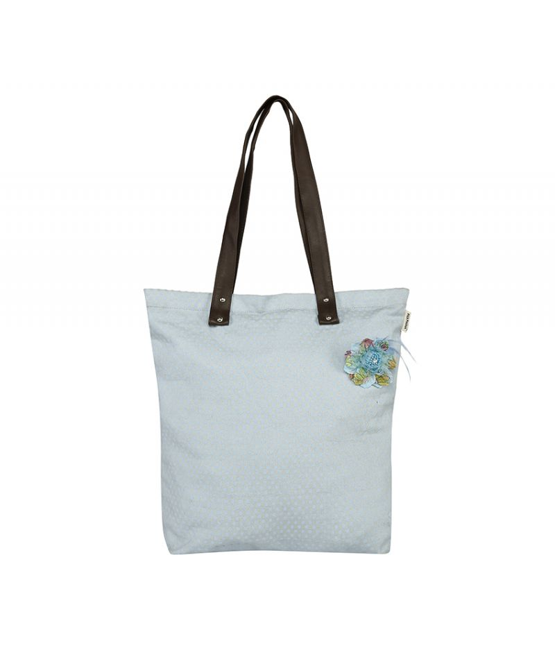 Buy Pick Pocket Sky Blue Canvas Printed Tote Bag With Pu Handle online