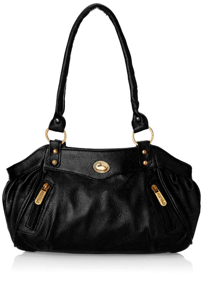 Buy Fostelo Swann Black Leather Handbag Online | Best Prices in ...