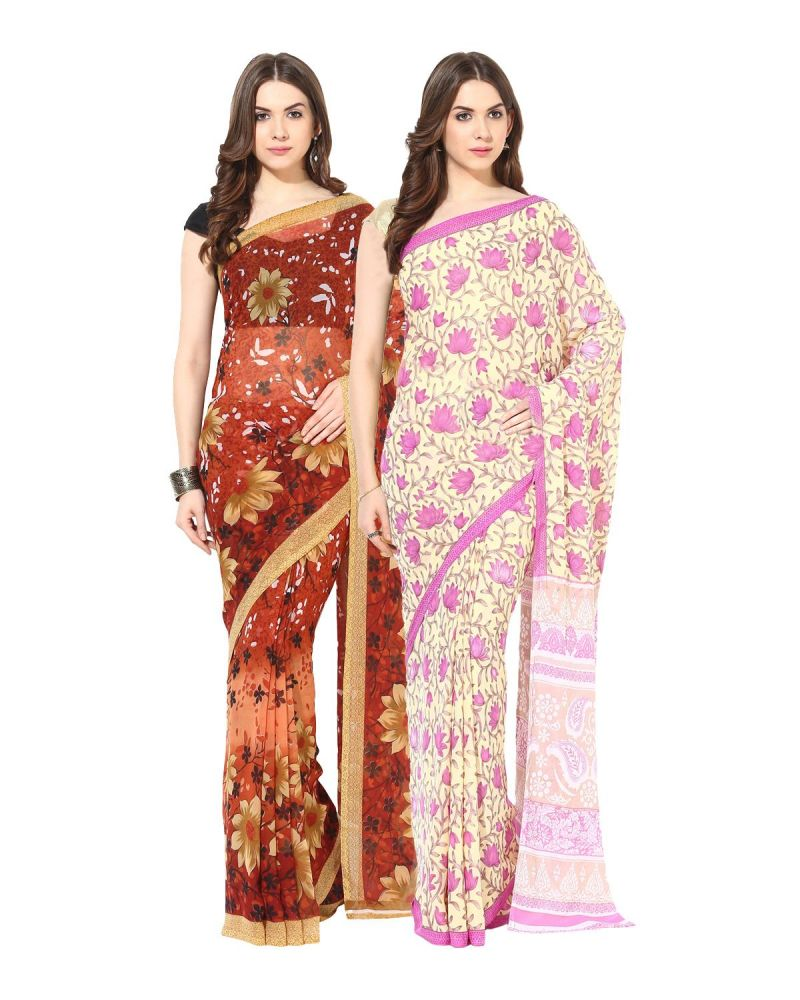 Buy Fostelo Bollywood Designer Orange & Cream/pink Saree (pack Of 2) online