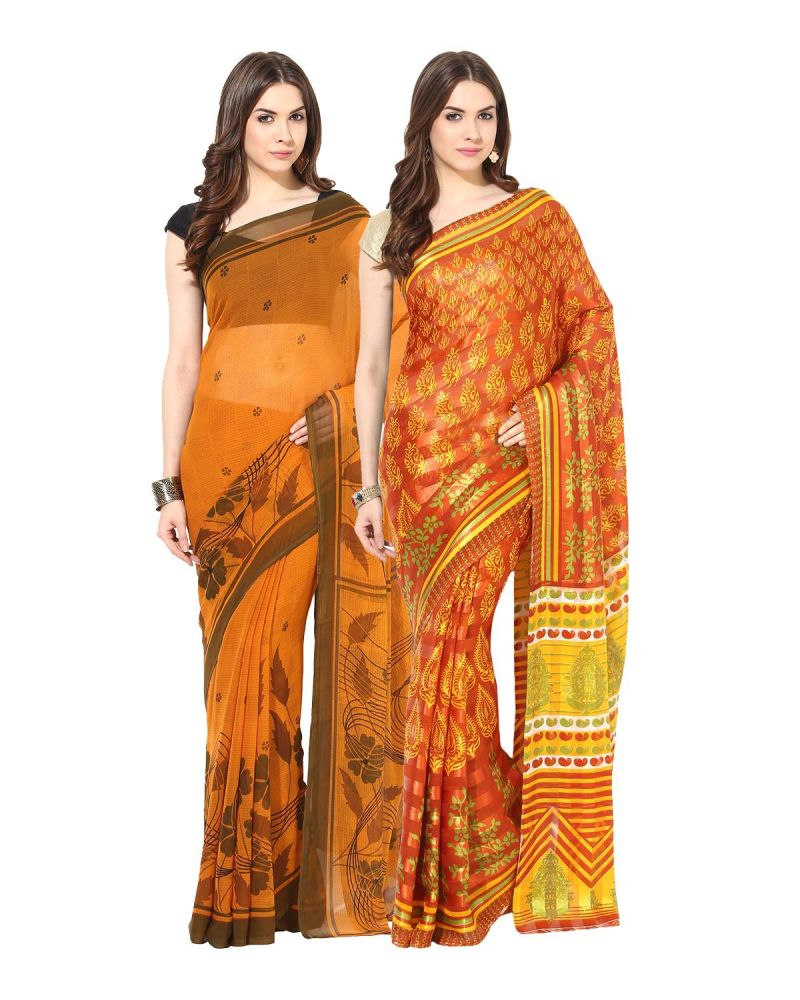 Buy Fostelo Bollywood Designer Yellow & Orange Saree (pack Of 2) online