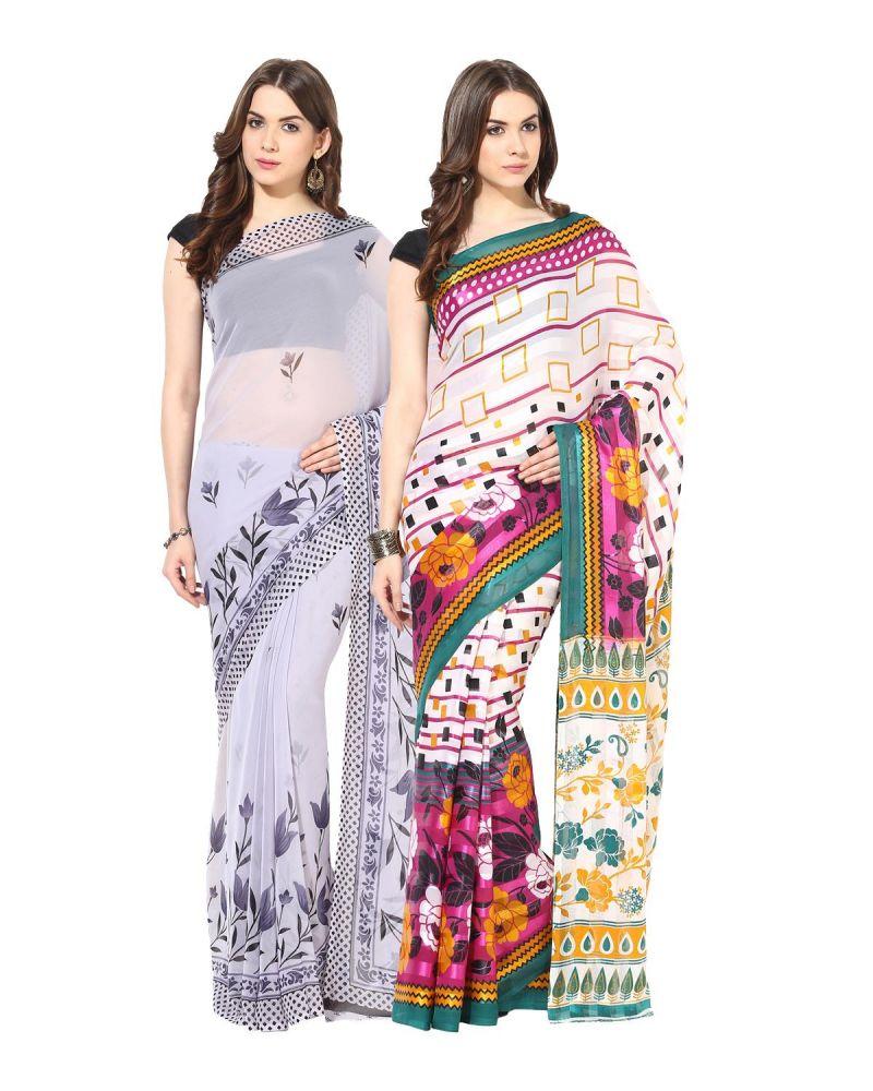 Buy Fostelo Bollywood Designer Grey & Green Saree (pack Of 2) online