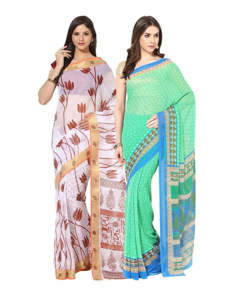 Buy Fostelo Bollywood Designer White & Green Saree (pack Of 2) online