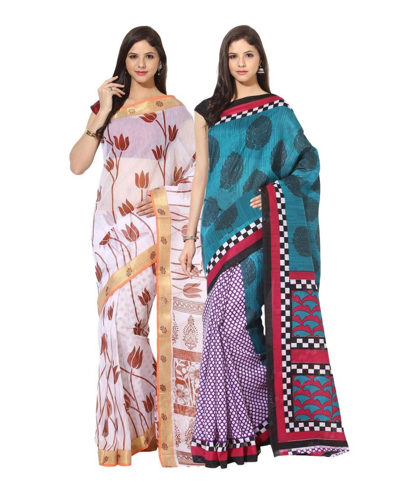 Buy Fostelo Bollywood Designer White & Dark Blue Saree (pack Of 2) online