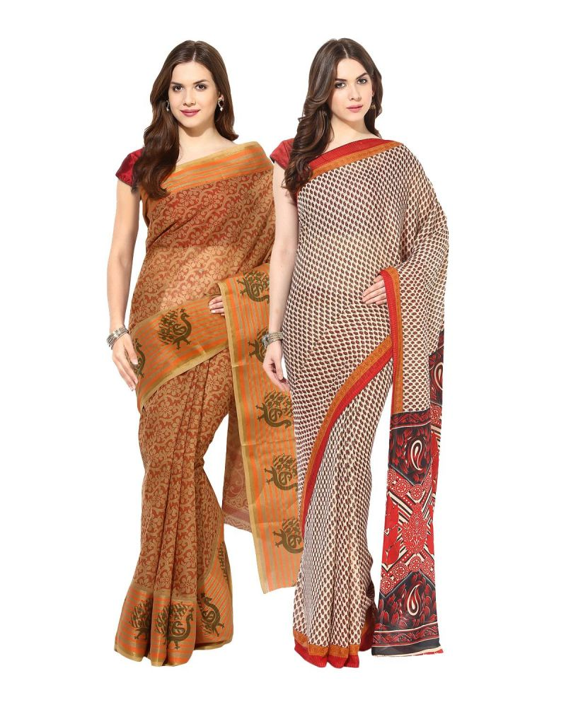 Buy Fostelo Bollywood Designer Orange & Red Saree (pack Of 2) online