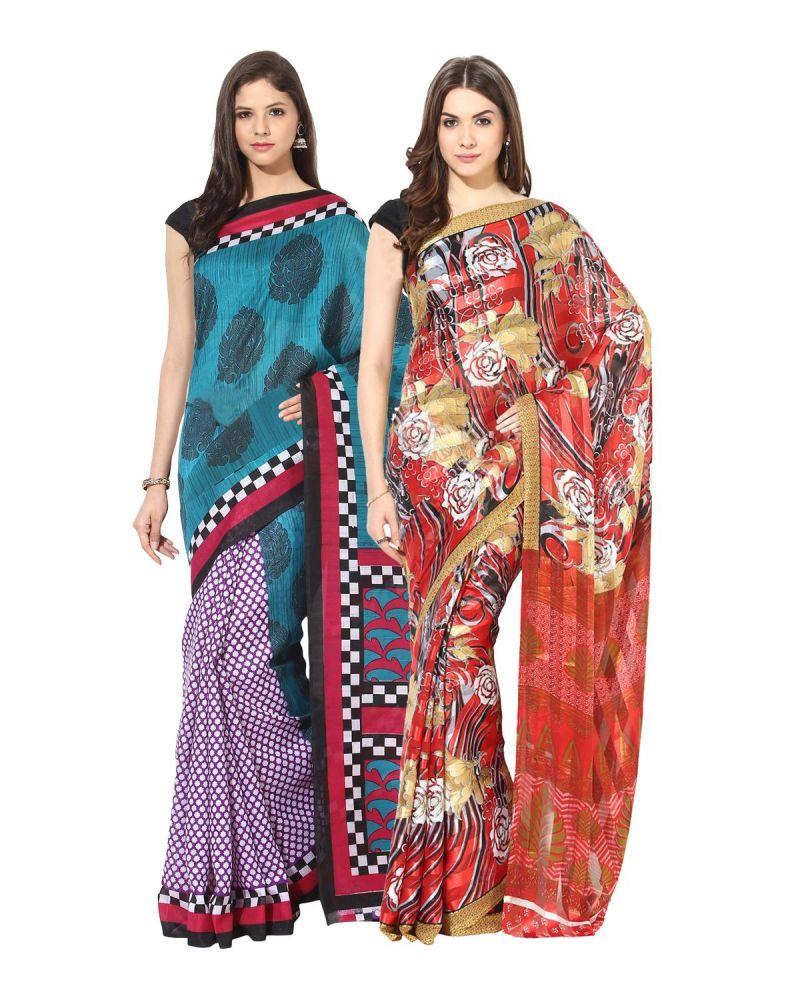 Buy Fostelo Bollywood Designer Dark Blue & Red Saree (pack Of 2) online