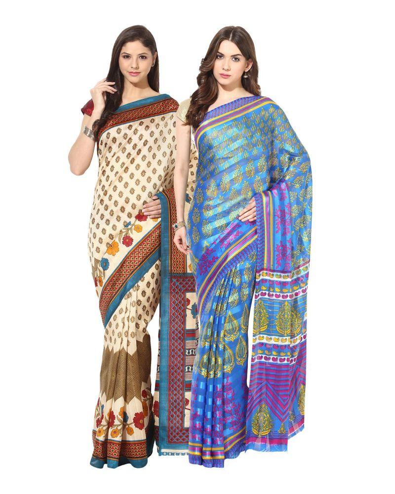 Buy Fostelo Bollywood Designer Beige & Blue Saree (pack Of 2) online