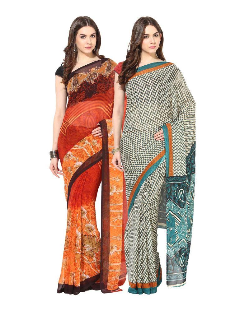 Buy Fostelo Bollywood Designer Orange & Green Saree (pack Of 2) online
