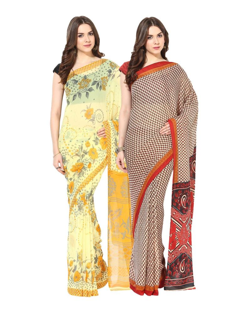Buy Fostelo Bollywood Designer Yellow & Red Saree (pack Of 2) online