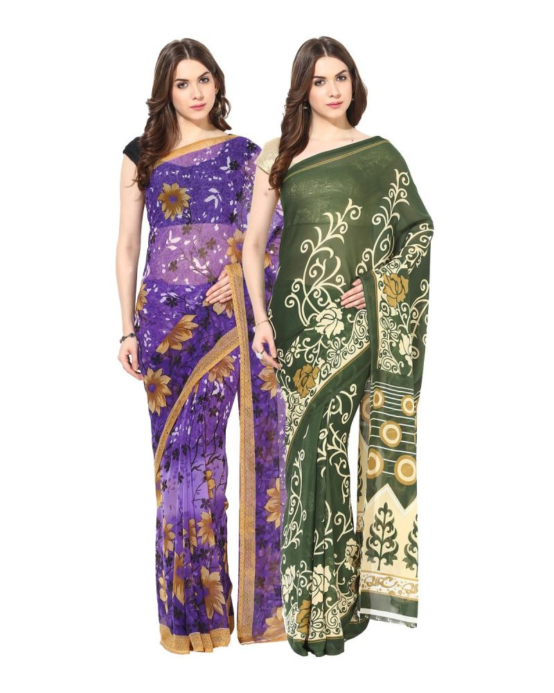 Buy Fostelo Bollywood Designer Purple & Green Saree (pack Of 2) online