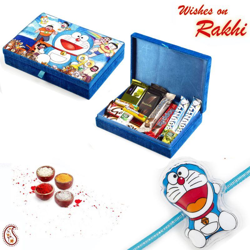Buy Cute Doremon Chocolate Box With Rakhi - Cho1724 online