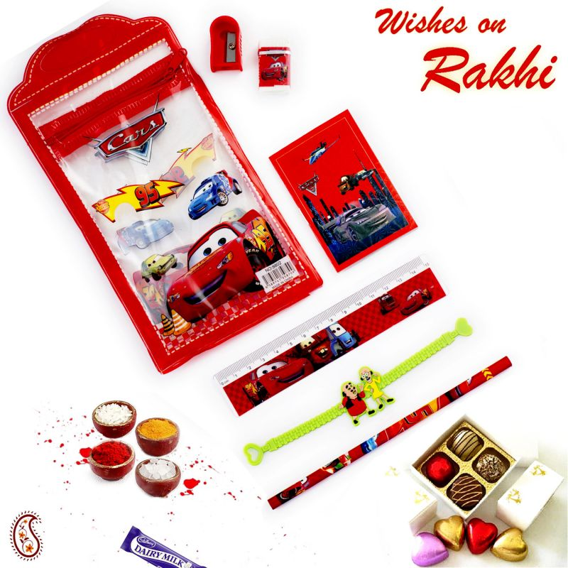 Buy Rakhi For Usa- Aapno Rajasthan Red & Blue Motor Car Poch Box & Rakhi Kids Hamper - Us_hpr17165 online
