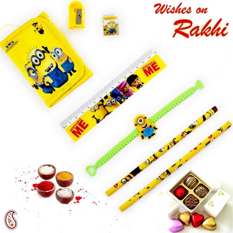Buy Aapno Rajasthan Yellow Minion Pouch Box & Rakhi Kids Hamper - Hpr17168 online