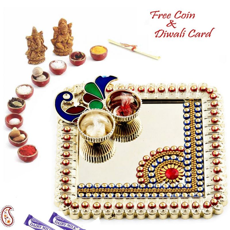 Buy Peacock Motif Mirror Base Pooja Thali online