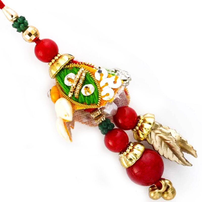 Buy Rakhi For Uae- Aapno Rajasthan Charming Red & Green Pearl Beads Studded Lumba Rakhi - Uae_lm171139 online