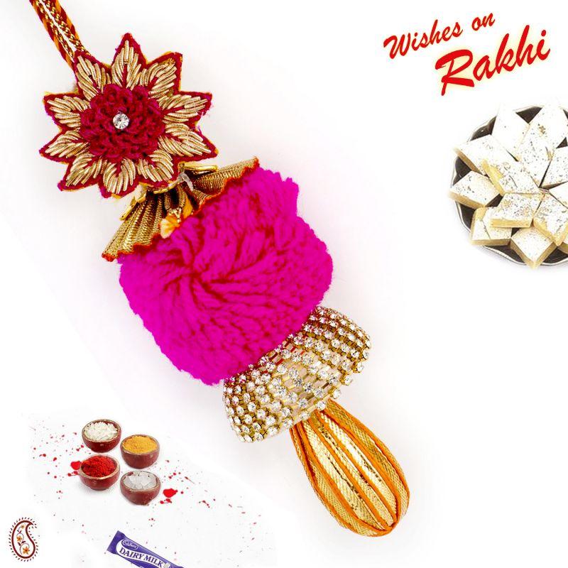 Buy Aapno Rajasthan Pink Cotton Bead Embellished Lumba Rakhi - Lm171172 online
