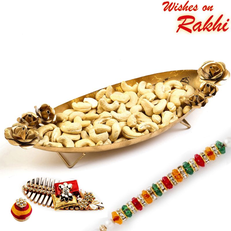 Buy Rakhi For Usa- Aapno Rajasthan Boat Shape Gold Finish Tray With Dry Fruits And Rakhi Hamper - Us_mb1705 online