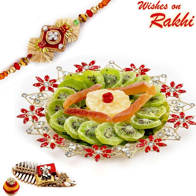 Buy Aapno Rajasthan Delicious Dried Fruit & Rakhi Hamper - Mb17110 online