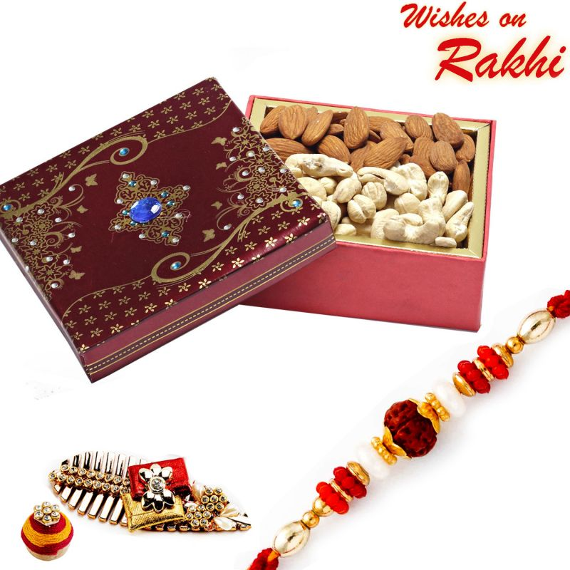 Buy Aapno Rajasthan Cashew And Almonds Box With Free Rakhi And Tilak - Mb1727 online