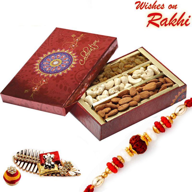 Buy Rakhi For Uk - Festive Box With Cashew, Raisins, Almonds And Rakhi - Uk_mb1729 online