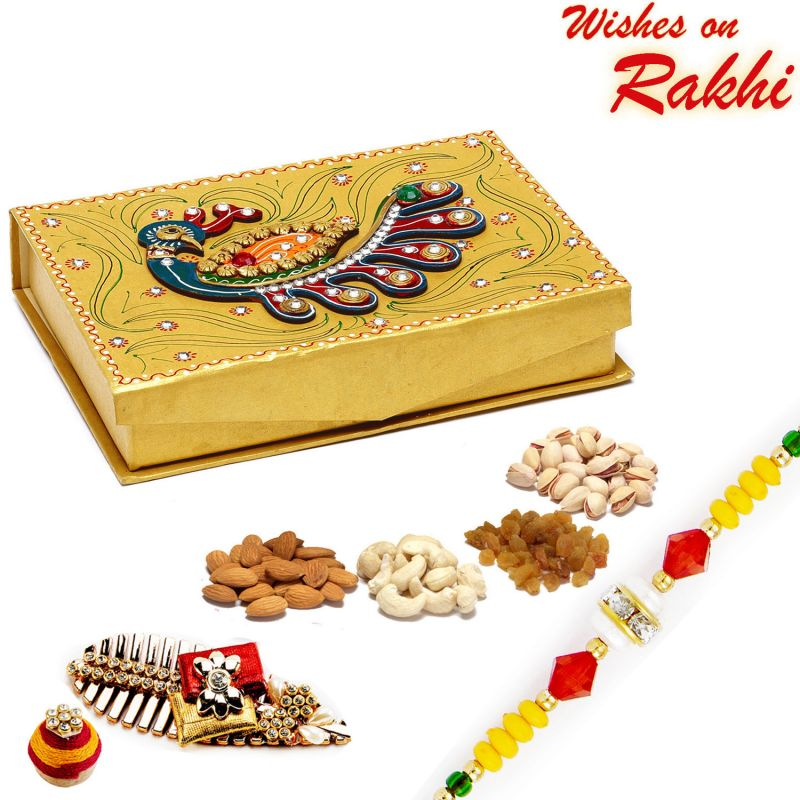 Buy Aapno Rajasthan Peacock Design Golden Drufruit Box With Rakhi - Mb1758 online