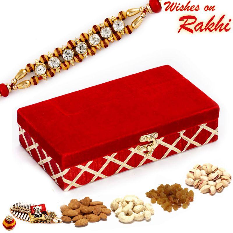 Buy Aapno Rajasthan Red Rectangular Dryfruit Box With 1 Bhaiya Rakhi - Mb1777 online