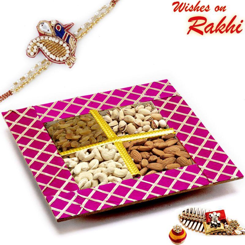 Buy Rakhi For Usa- Aapno Rajasthan Purple Dryfruit Gift Box With 1 Zardosi Rakhi - Us_mb1794 online