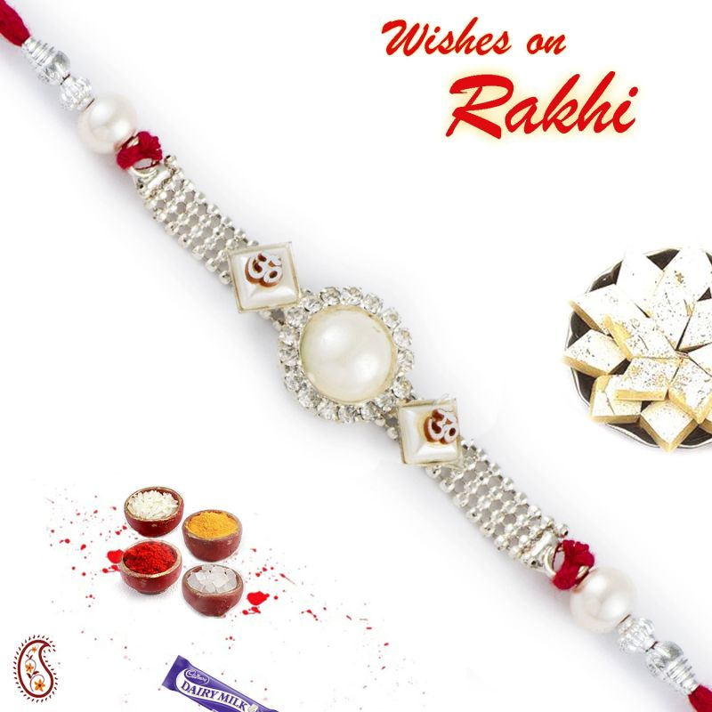 Buy Rakhi For Abroad_aapno Rajasthan Beautiful Ad Studded Om Motif Pearl Rakhi - Int_prl17564 online