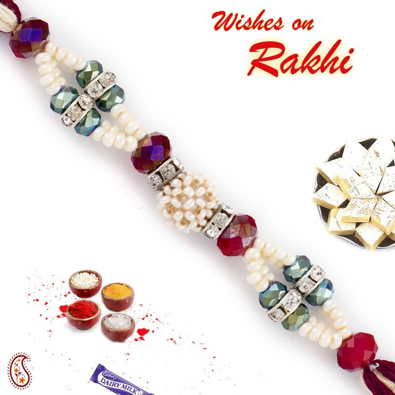 Buy Aapno Rajasthan Multicolor Beads Studded Stylish Pearl Rakhi - Prl17566 online