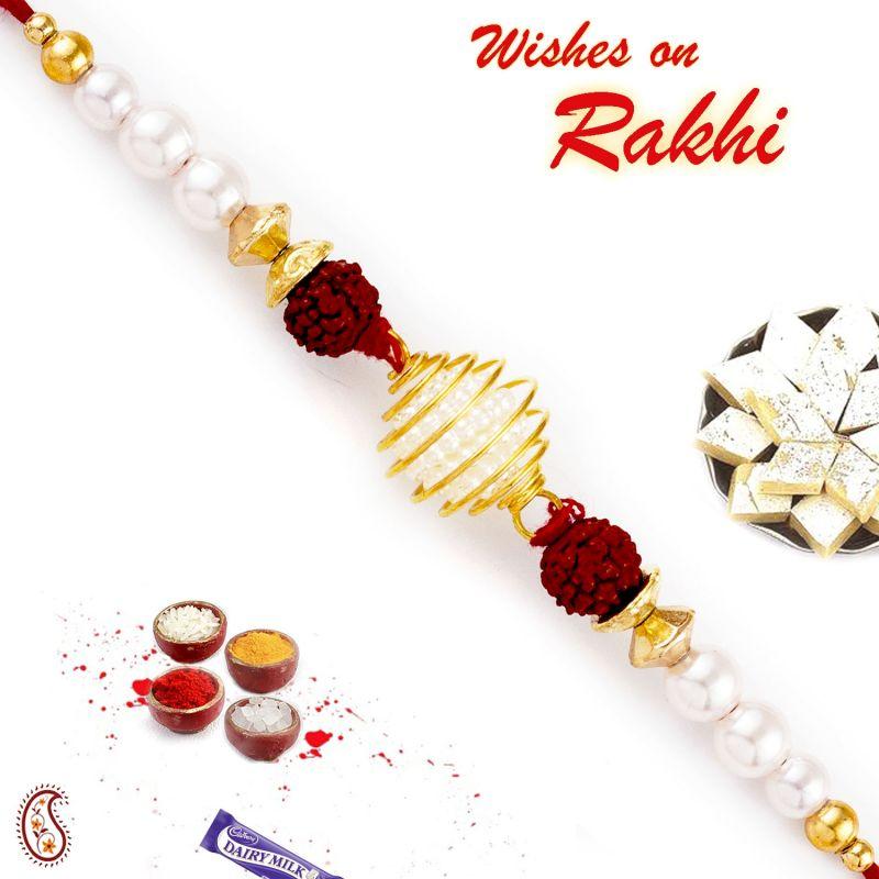 Buy Aapno Rajasthan Twin Rudraksh Embellished Pearl Rakhi - Prl17569 online