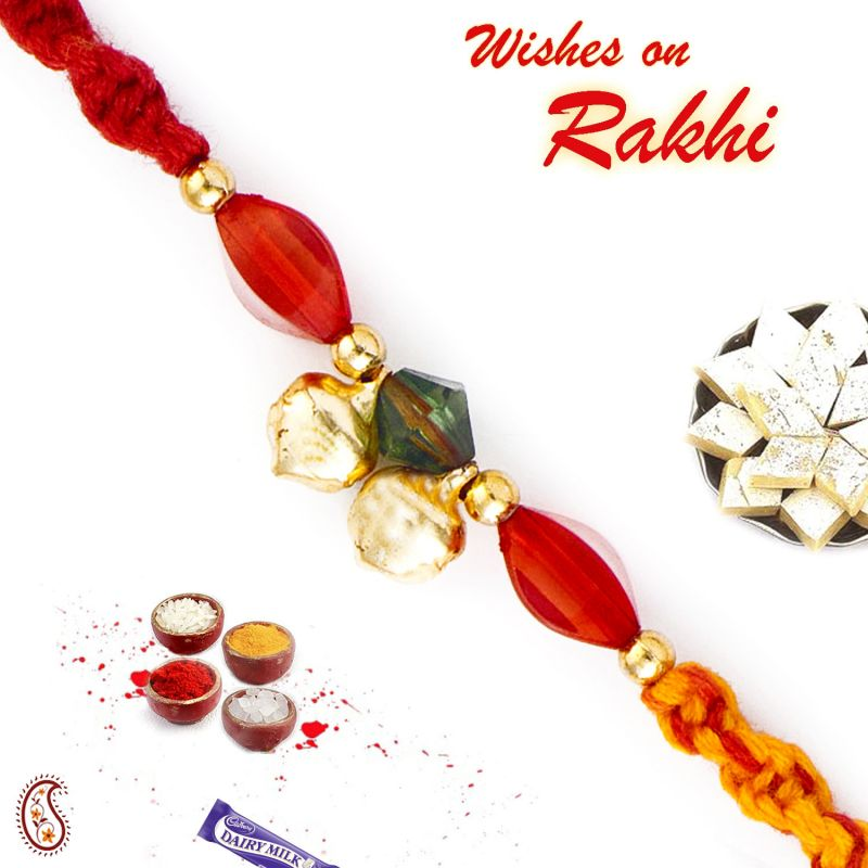 Buy Aapno Rajasthan Red Stone & Golden Bead Mauli Thread Rakhi - Prs1707 online