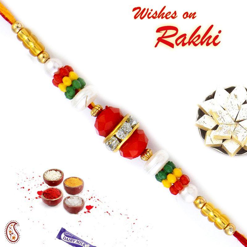 Buy Aapno Rajasthan Multicolor Bedas & Ad Studded Mauli Thread Rakhi - Prs17100 online