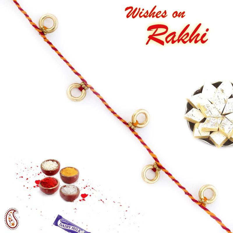 Buy Aapno Rajasthan Golden Round Hollow Beads Thread Rakhi - Prs1713 online