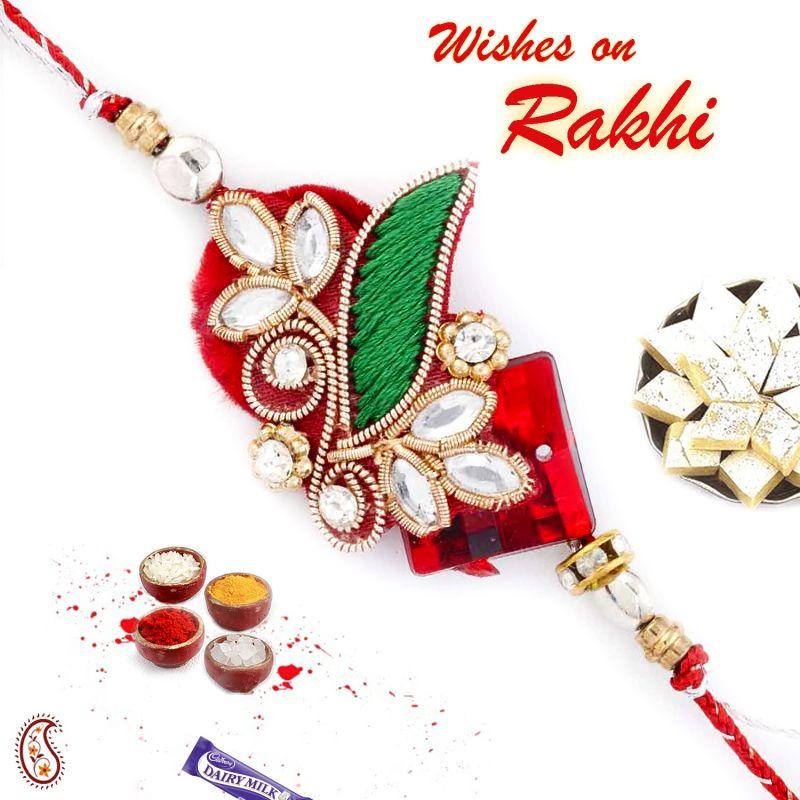 Buy Aapno Rajasthan Kundan Studded Beautiful Zardosi Rakhi - Prs17137 online